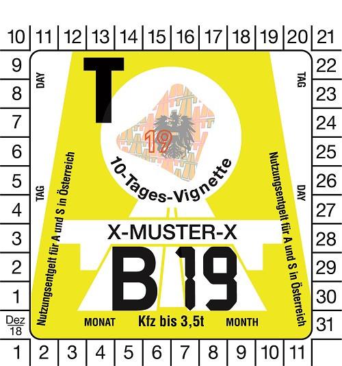 PKW 10-Tage-Vignette für Österreich