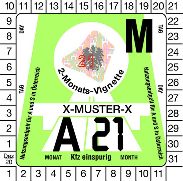 Motorrad 2-Monats-Vignette für Österreich 2021